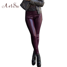 ArtSu Faux Leather Long Club Pants Women Slim Bodycon Party Trousers Casual Pant Autumn Winter High Wasit Pencil Pants ASPA30017(China)