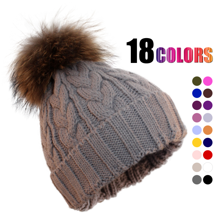 Lovely Cable Knitting Women Hat With Raccoon Fur Pom Poms Warm Winter  VL54