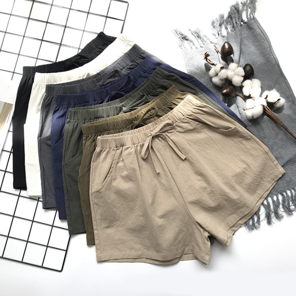 HTB1 RAxbf1H3KVjSZFBq6zSMXXaU - Women Female Casual Solid Color Cotton Linen Shorts Ladies Summer High Waist Loose Elastic Drawstring Club Holiday Short Pants