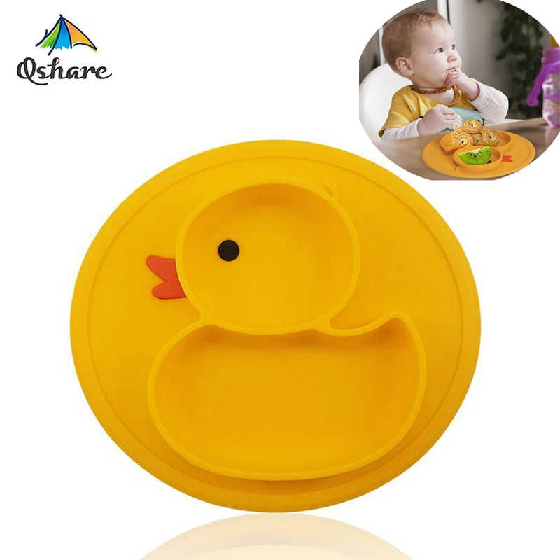 Qshare mesa esteira do bebê pato pratos placa de silicone bandeja sucção antiderrapante mini esteira crianças refeição frutas bandeja todder placemat