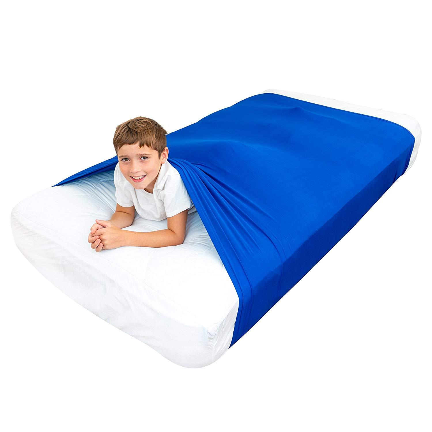 Sensory Bed Sheet For Kids Compression Alternative To Weighted Blankets Breathable Sack For Boys, Girls - Safe  Calming Relief