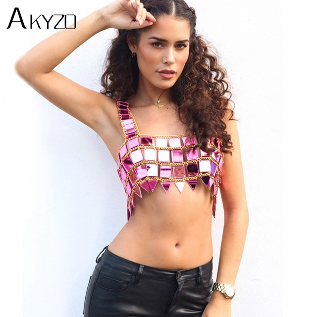 9ab3fd2e93 AKYZO Sparkly Festival Acrylic Mirror Tank Tops Women Summer Beach Hollow  Out Cropped Camis Metal Chain