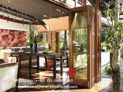 Двойная полая стеклянная Складная Дверь из алюминиевого сплава, двустворчатая Система стеклянной двери плавно увеличивает пространство