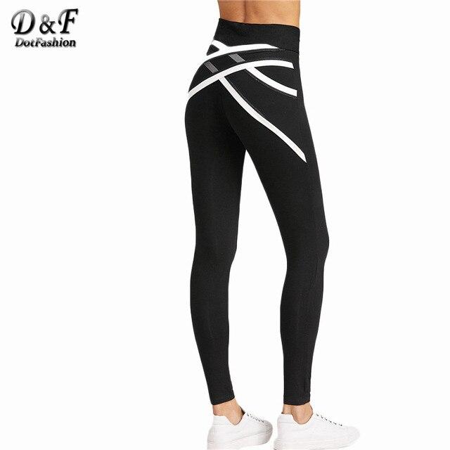 d2efe974a0972 Dotfashion Mesh Back Fitness Leggings Black Contrast Trim Skinny High Waist  Pants 2017 Spring Crisscross Casual Leggings
