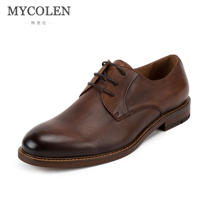 MYCOLEN Men Genuine Leather Dress Shoes Brand Designer British Style Round Toe Formal Wedding Lace-Up Casual Cow Leather Shoes men s dress shoes genuine leather cowhide leather pig inner round toe derby style wedding business shoes 2018 new lace up