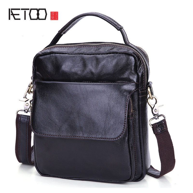 AETOO Genuine Leather Men bag Business Men Messenger Bags Men's Shoulder Bags Cowhide Men Cross Body Bag 2017 New handbag