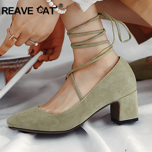 REAVE CAT 2019 New arrival Spring summer shoes Women s pumps Cross tied  Flock Female mujer Green cbe8699bdf9e