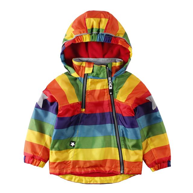 LittleSpring Meninos Meninas Jaquetas Crianças Colorido À Prova D' Água capa de Chuva Ao Ar Livre Alpinista Jaqueta Casaco Crianças Zipper Rainbow