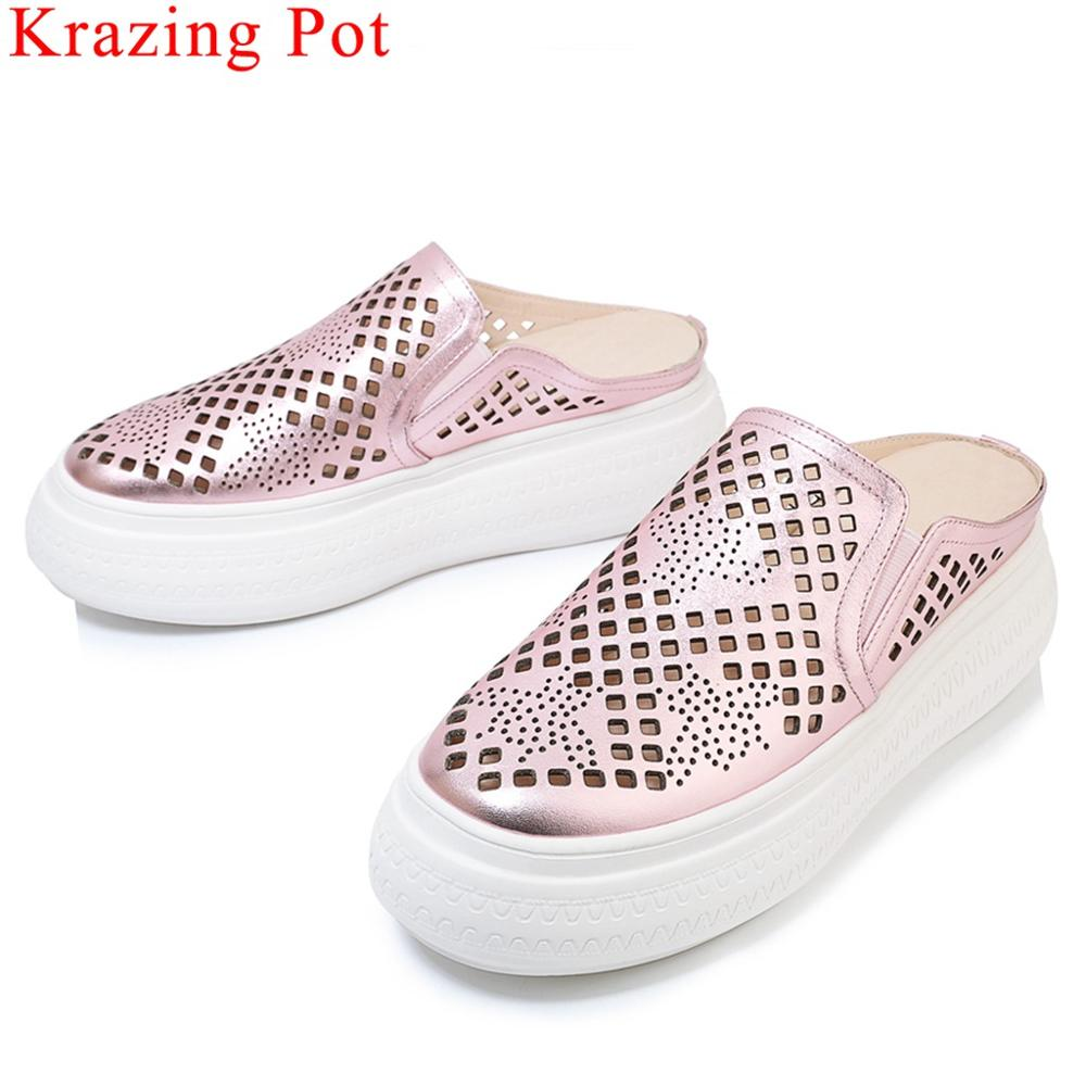 Krazing Pot new arrival genuine leather round toe flat platform slip on mules high bottom concise style vulcanized shoes L90Krazing Pot new arrival genuine leather round toe flat platform slip on mules high bottom concise style vulcanized shoes L90