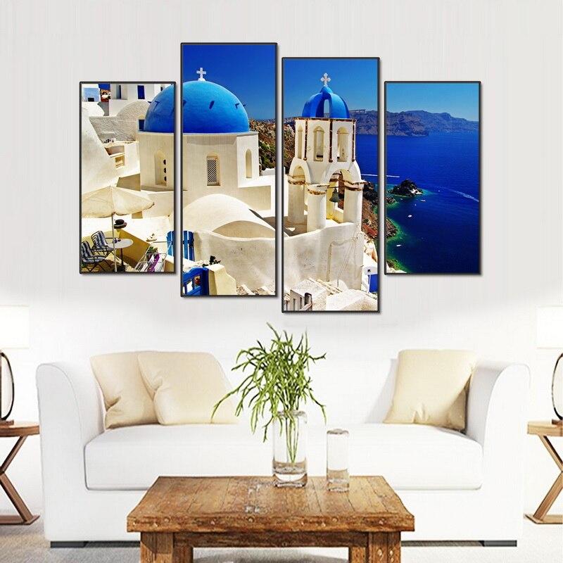 Modular 4 unids Venecia paisaje pintura Venecia Santorini Island ...