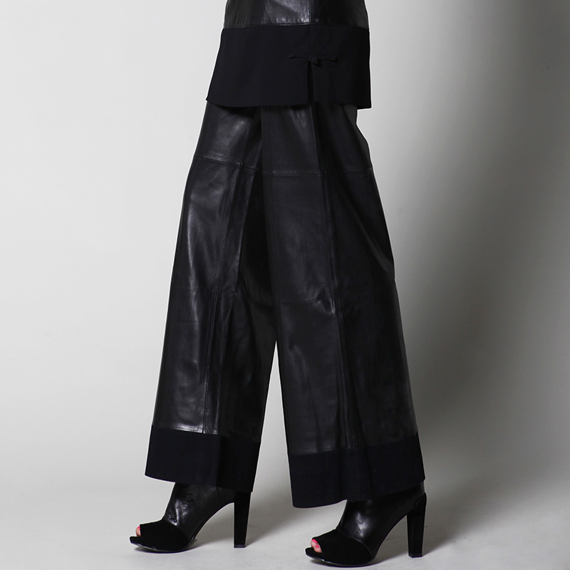 Sheepskin Genuine Leather   Pants   Spring And Autumn Ladies' Fashion Plus Size Loose   Wide     Leg     Pants   Women's Genuine Leather   Pants
