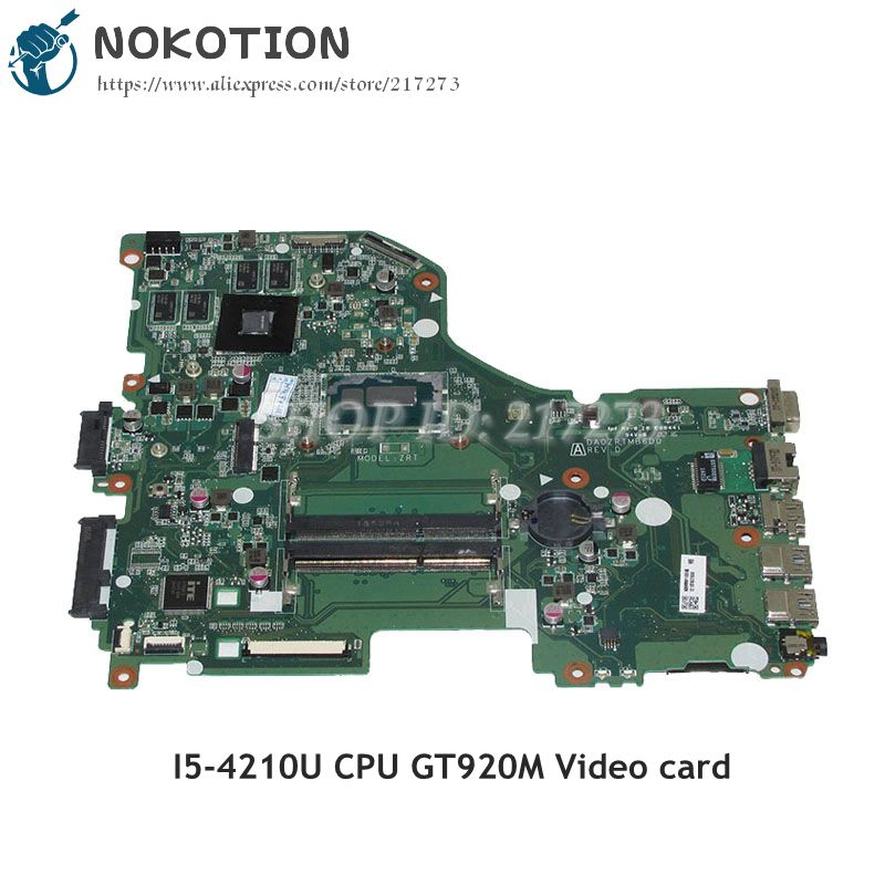 NOKOTION NBMVM11006 NB.MVM11.006 For Acer aspire E5-573G Laptop Motherboard DA0ZRTMB6D0 I5-4210U CPU GT920M Video card