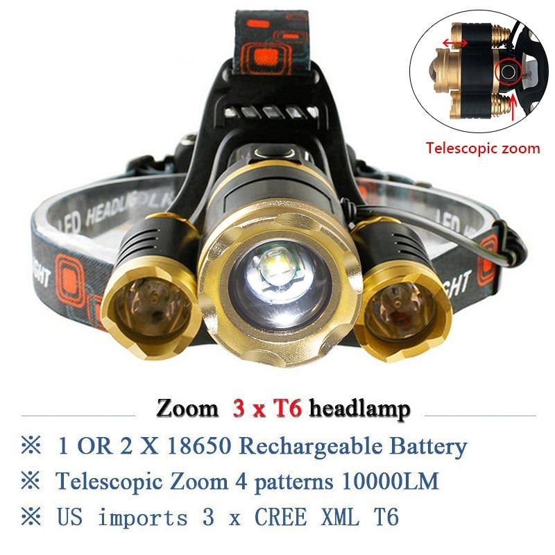 CREE 3T6 waterproof LED head lamp flashlight 12000LM headlamp Zoomable Rechargeable LED Head light bike lantern 18650 head torch