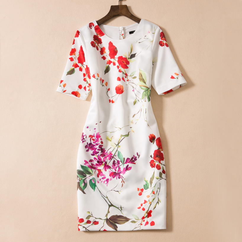 2017 New Arrival Summer Elegant Short Sleeve Print Mini Dress High Quality Fashion White O neck