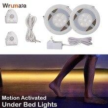 Wrumava Tira de luces LED con Sensor de movimiento para debajo de la cama, con temporizador de apagado automático, para cama doble, Blanco cálido, 2700K, regulable