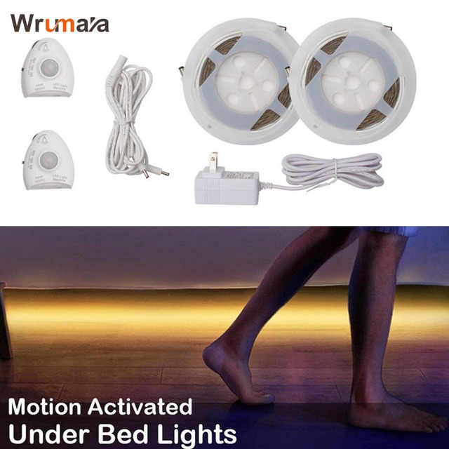 Wrumava Under Bed Lights Motion Sensor LED Light Strip with Automatic Shut Off Timer for Double Bed Warm White 2700K Dimmable
