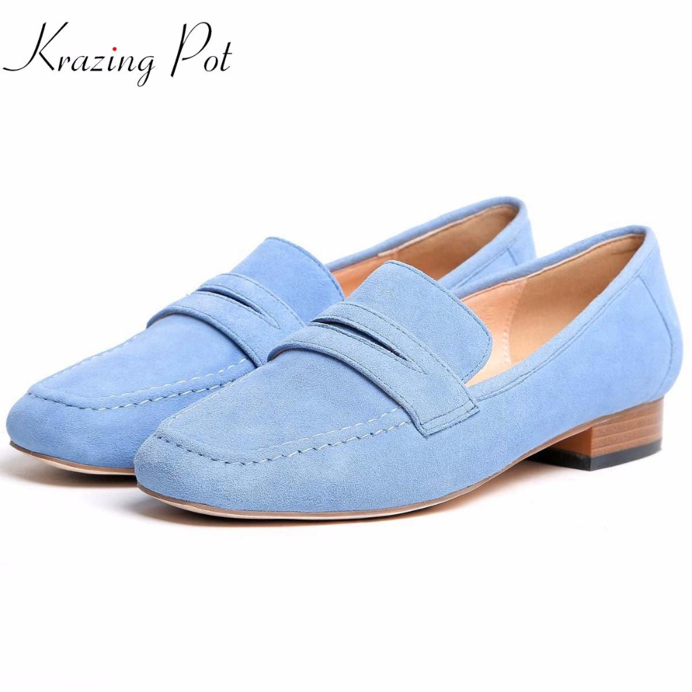 KRAZING POT high street fashion kid suede slip on colorful shallow round toe pumps women thick low heels cozy brand shoes L21 krazing pot new fashion brand shoes square toe shallow women pumps metal strange high heels slip on causal office lady shoe 02