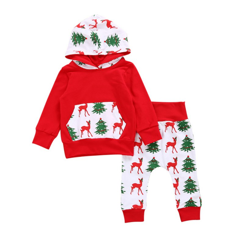 2017 Children Winter Clothing Sets Newborn Baby Girl Clothes Christmas Tree Print Pullovers Hooded+Pants