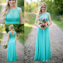 2017 Turquoise Bridesmaid Dresses Cheap Scoop Neckline Chiffon Floor Length Lace V Backless Long Bridesmaid Dresses for Wedding