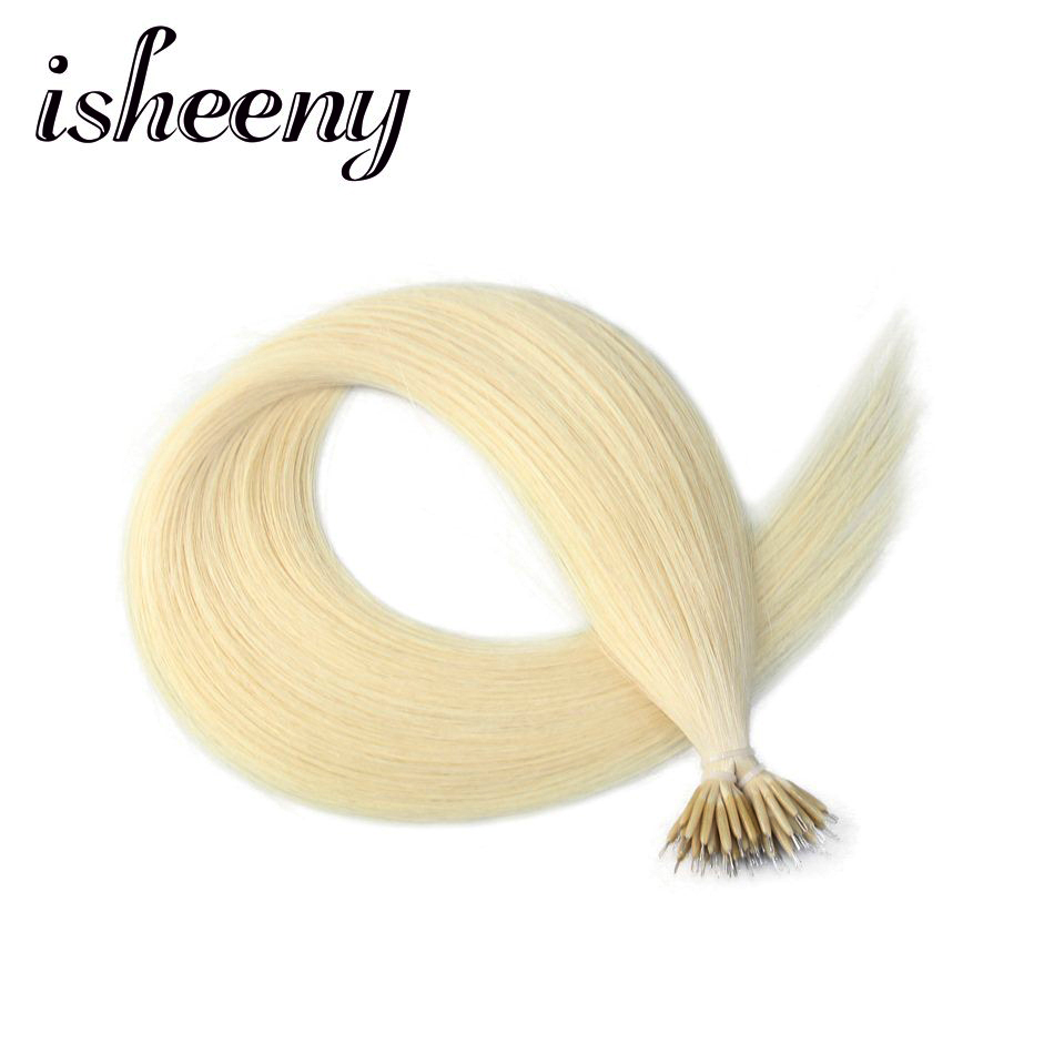 Isheeny 14 18 22 Remy микрошарики волос прямые Platnium блондинка Nano кольцо Ссылки человеческих волос 50 шт. DHL Быстрая доставка