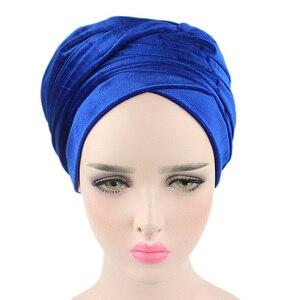 Image 5 - Foulard en velours pour femmes, Hijab, foulard pour femmes musulmanes, Turban, chapeau de tête, chapeau pour dames, accessoires pour cheveux, casquette intérieure islamique, nouvelle