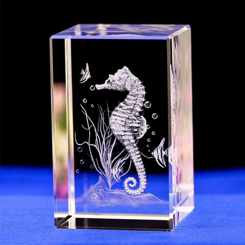 Sea Horse Laser Engraving Crystal Night Light With