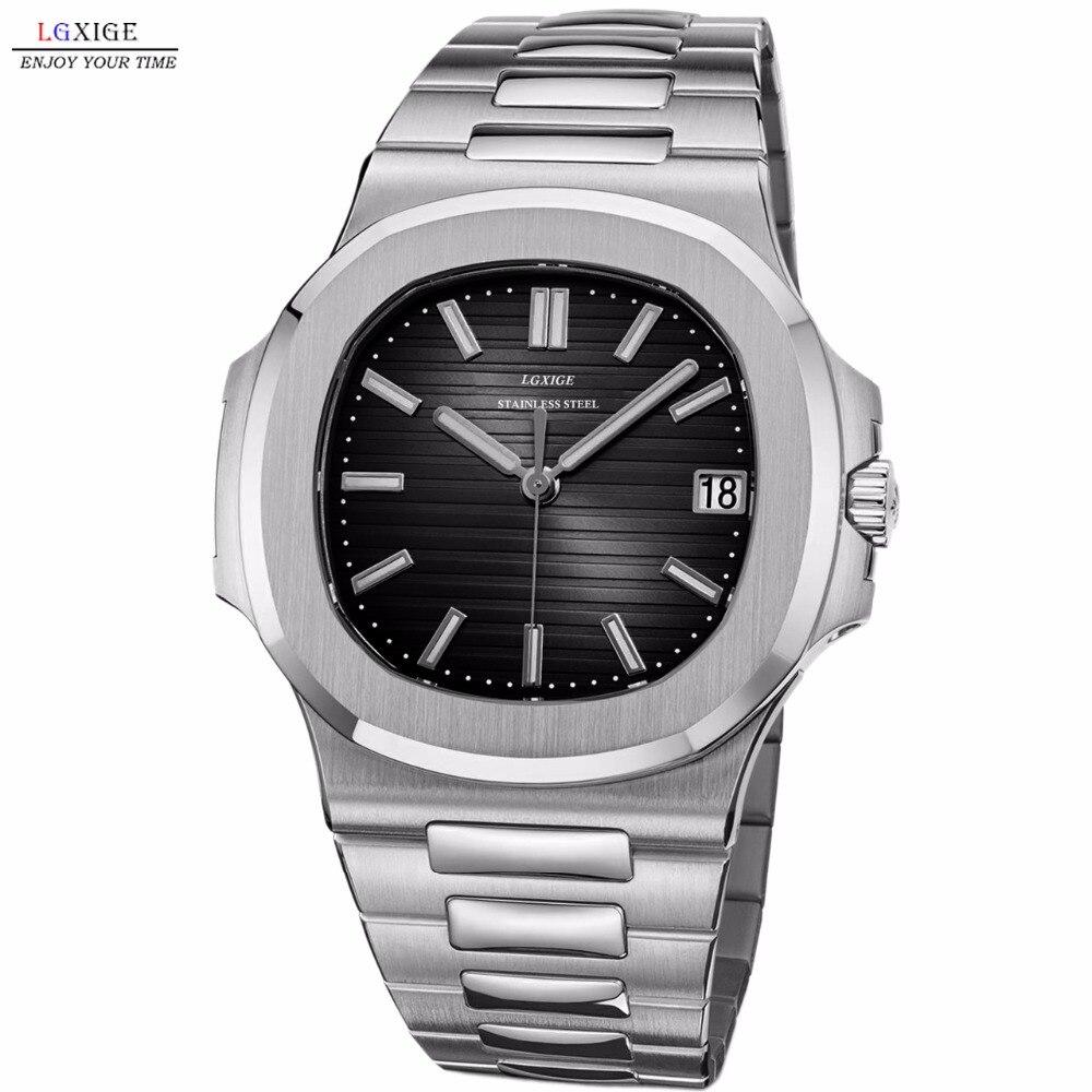 Watch Men Top Brand Luxury Quartz Watch Rosegold Chronograph Sports Watch Shockproof 30m Waterproof Hublo LGXIGE Wristwatch
