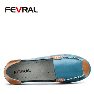Image 2 - FEVRAL Women Casual Shoes Genuine Leather Boat Comfortable Soft Gommino Flat Ventilation Fashion Printing Shoes Woman 4 Color