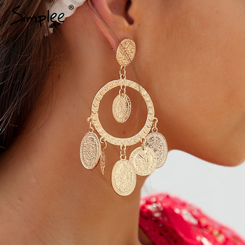 Simplee Vintage geometric round earrings gold Fine jewelry women accessories drop earrings Retro trendy fashion jewelry 2018 потолочная люстра odeon light crea color 2598 6c