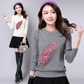 Loose Korean Knitted Women Sweaters embroidered Beading O-Neck fashion Slim Ladies Sweater Pullover Spring Autumnn Winter 2016
