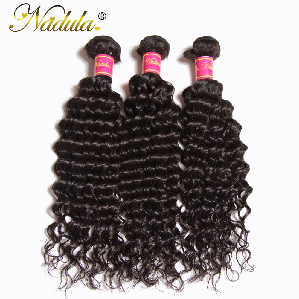 Nadula Hair 3Bundles 4Pcs Deep Wave Brazilian Hair Weaves 12 26inch Remy Hair Bundles Natural Color