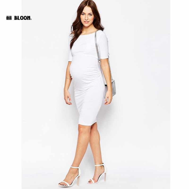 b66fc10da37df ... Maternity Clothes Knee-Length Elastic Maternity Dress Elegant Evening  Gowns for Pregnant Women Office Lady ...
