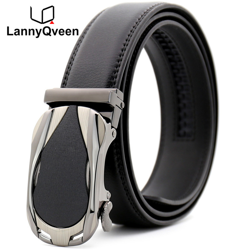 LannyQveen new model ratchet belt Men's Automatic buckle belt cow Leather fashion Belts for man business free shipping