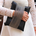 Nuevo 2015 Calidad 100% Fábrica Venta Casual Day Embrague de la Tarde bolso Negro de Cuero de LA PU Brillante Cadena de Embrague Bolsa de Hombro de Las Mujeres bolso