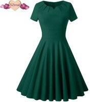 Women Summer Vintage Tunic Dress Female Robe Rockabilly Dresses Woman Casual Solid Short Sleeve Swing Dresses