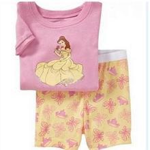 Милые детские пижамные комплекты для детей 2-7 лет, летняя детская одежда для сна с короткими рукавами, пижамы для девочек, домашняя одежда, одежда для сна, домашняя одежда wen152