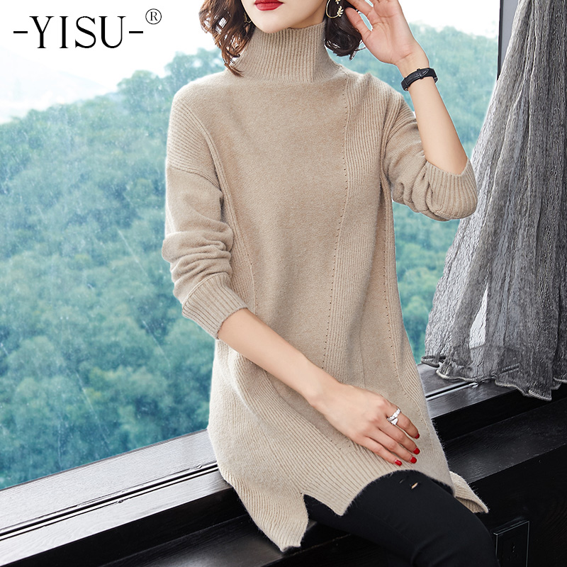 YISU Women Sweaters Pullovers 2018 Autumn Winter Long Sleeve turtleneck sweater Solid Pullover Female Casual Knitted
