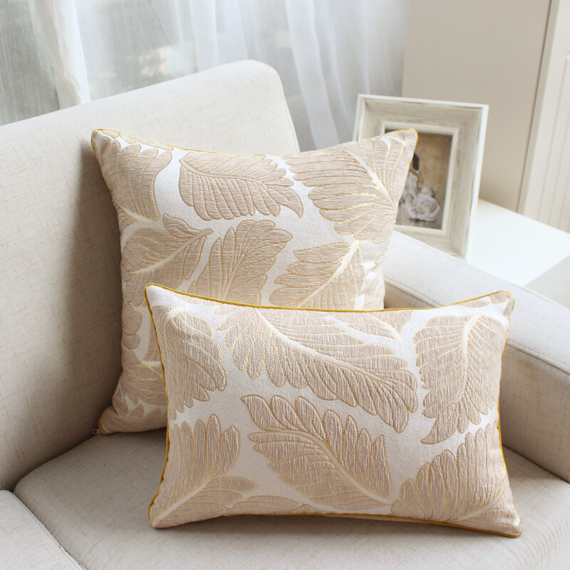 Luxury Chenille Flocking Cushion Cover Grey Beige Geometric Leaves Home Decorative Pillow Cover 45x45cm /30x45cm Pillow Case