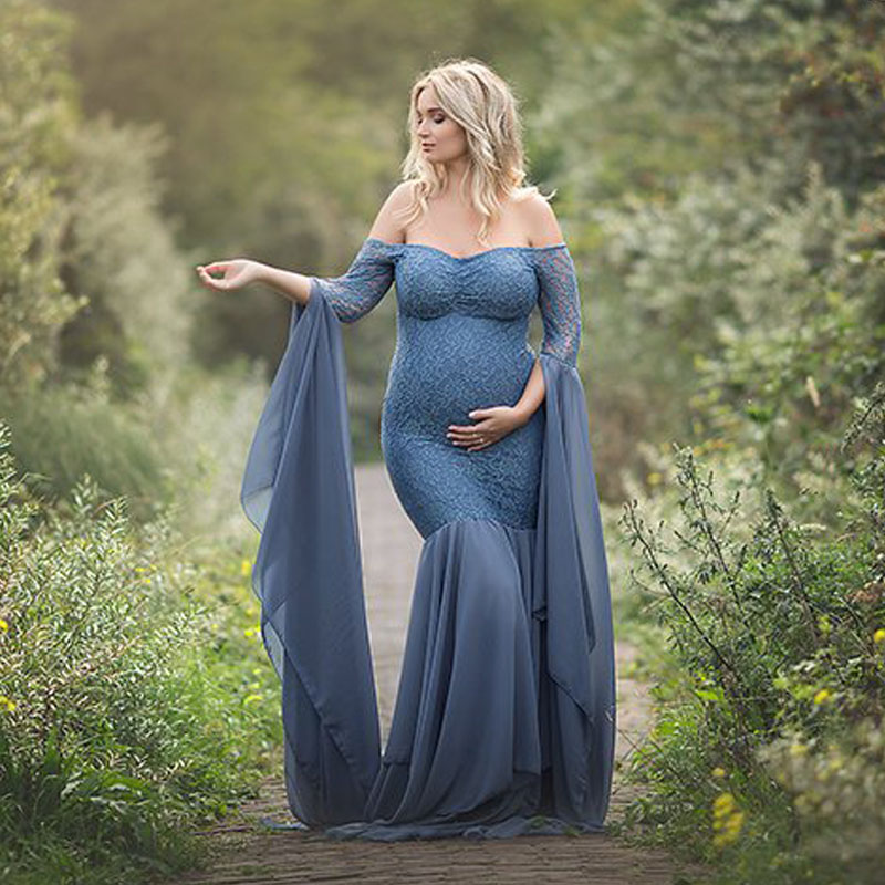 Image 4 - Maternity Photography Props Dresses For Pregnant Women Clothes Lace Maternity Dresses For Photo Shoot Pregnancy Dresses Clothing-in Dresses from Mother & Kids