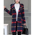 Англия Опрятный стиль элегантных женщин осень зима мода шерсть длинная шерсть плед с капюшоном теплый случайные свободные femme шерсть & смеси пиджаки