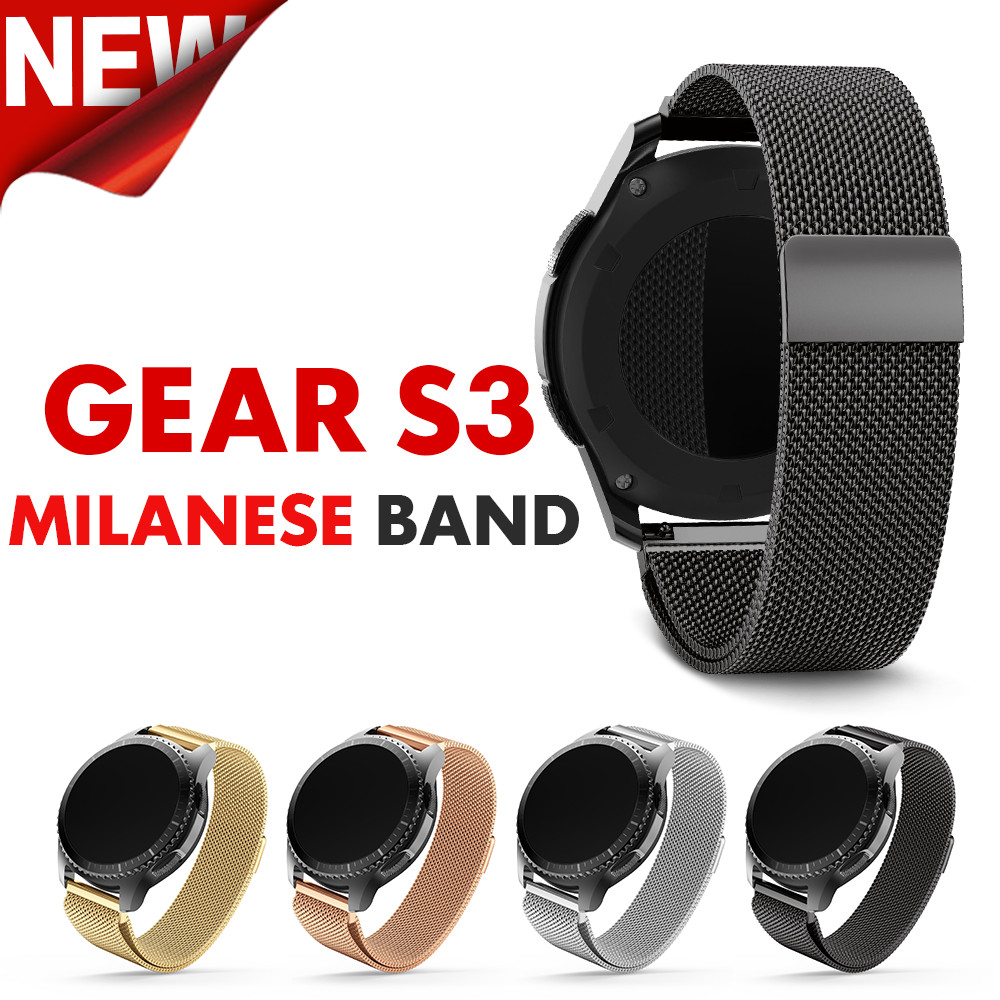 22mm width Watchband For Samsung Gear S3 Metal Magnetic Release Milanese Stainless Steel Watchband for men & women Classic Band