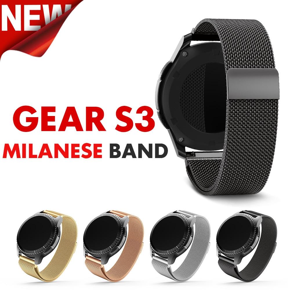 Samsung Gear S3 için 22mm genişlik Watchband Metal Manyetik Yayın Milanese Paslanmaz Çelik Watchband erkekler & kadınlar için Klasik Bant