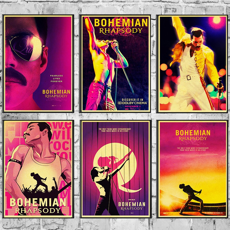 Vintage Bohemian Rhapsody Freddie Mercury Queen 2018 Musical Movie Poster Kraft Paper Modern Home Room Wall Decor