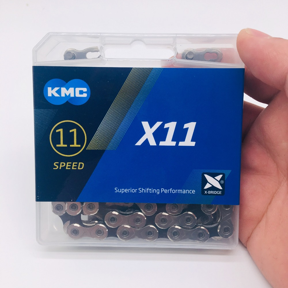 KMC X11 x11.93 chaîne de vélo de route vtt x9 x10 x11 118L 11 vitesses argent vélo léger chaîne étroite bouton magique avec boîte