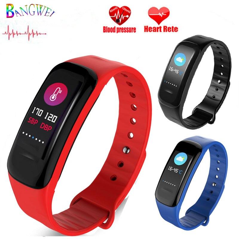 BANGWEI 2018 New Women Sport Watch Activity Tracker Pedometer Heart Rate Blood Pressure Monitoring Waterproof Smart Watch Men