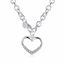 Women or girls fashion jewerly 925 sterling silver Link chain with open crystal stone heart charms  Pendant Necklace Wholesale