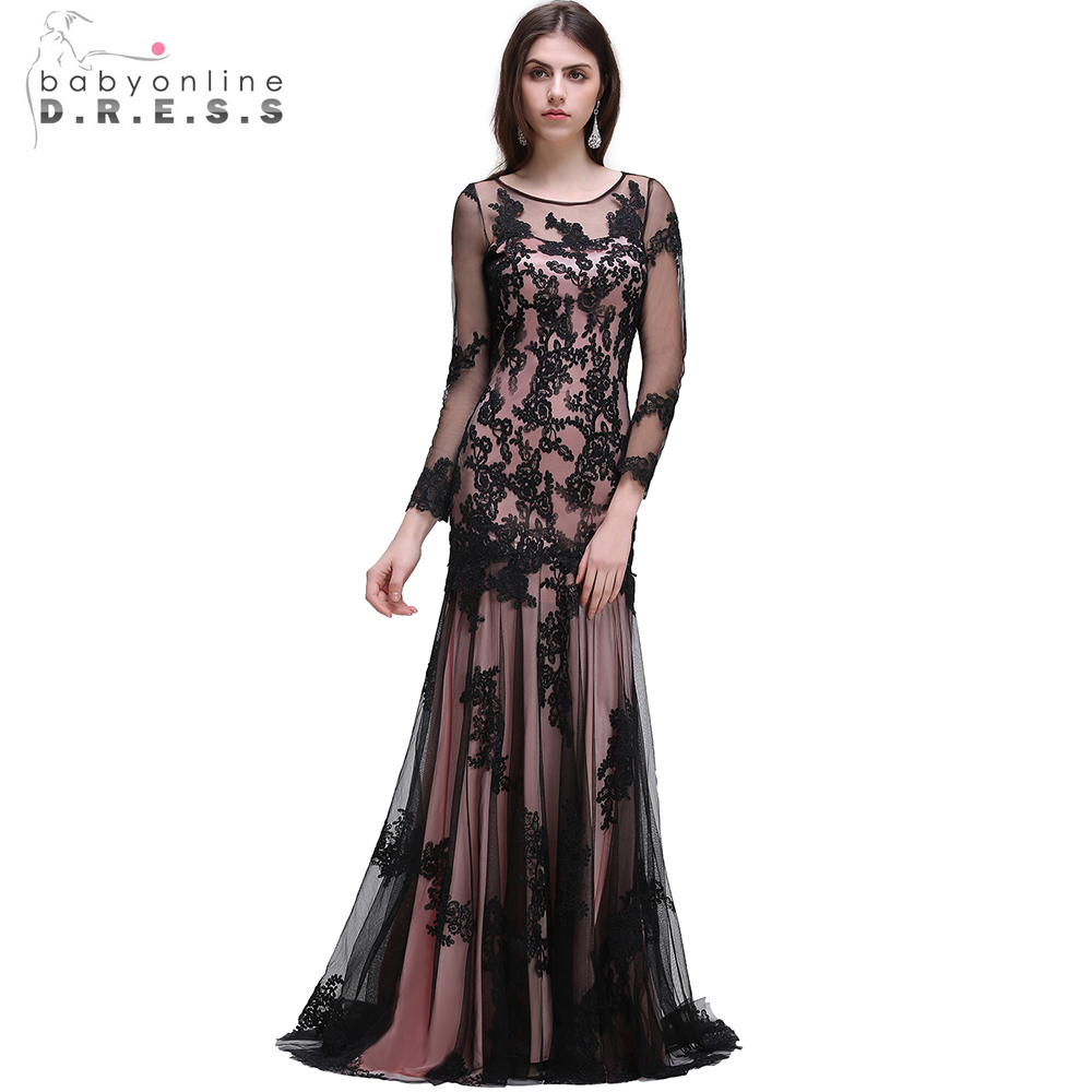 Sexy O neck Black Mermaid Gold Lace Evening Dresses 2017 Long Sleeve ...