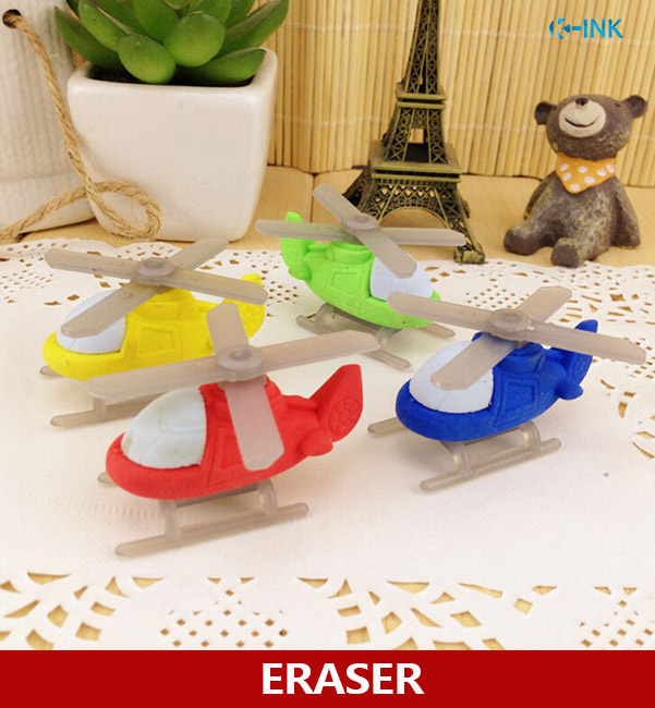 24pcs / Lot Novelty Helicopter Erasers , Creative Helicopter Rubber Pencil Erasers For Boys