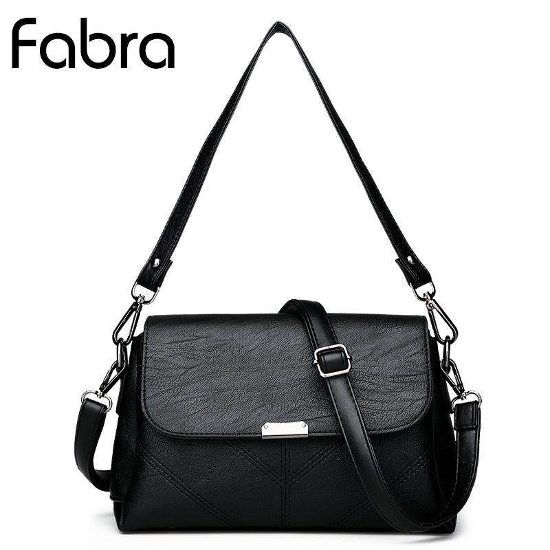 Fabra Vintage PU Leather Women Messenger Bag Fashion Small Women Handbag Double Strap Shoulder Crossbody Bags Small Flap Black