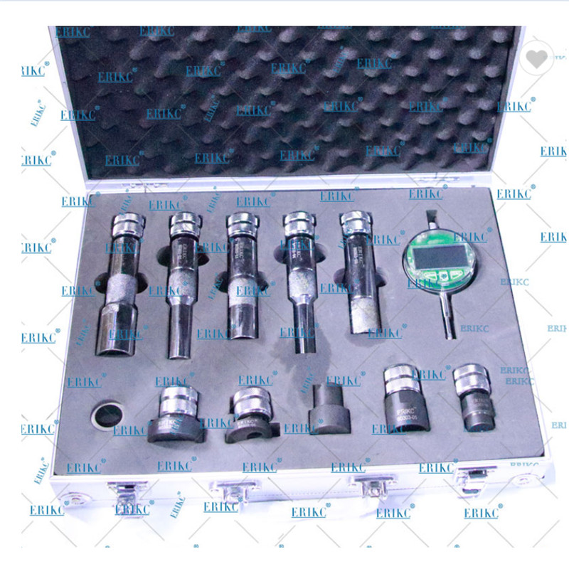 ERIKC Injector Gaskets Shims Lift Measure Instrument E1024007 CR Fuel Injector Nozzle Washer Space Testing Tools Set Black color